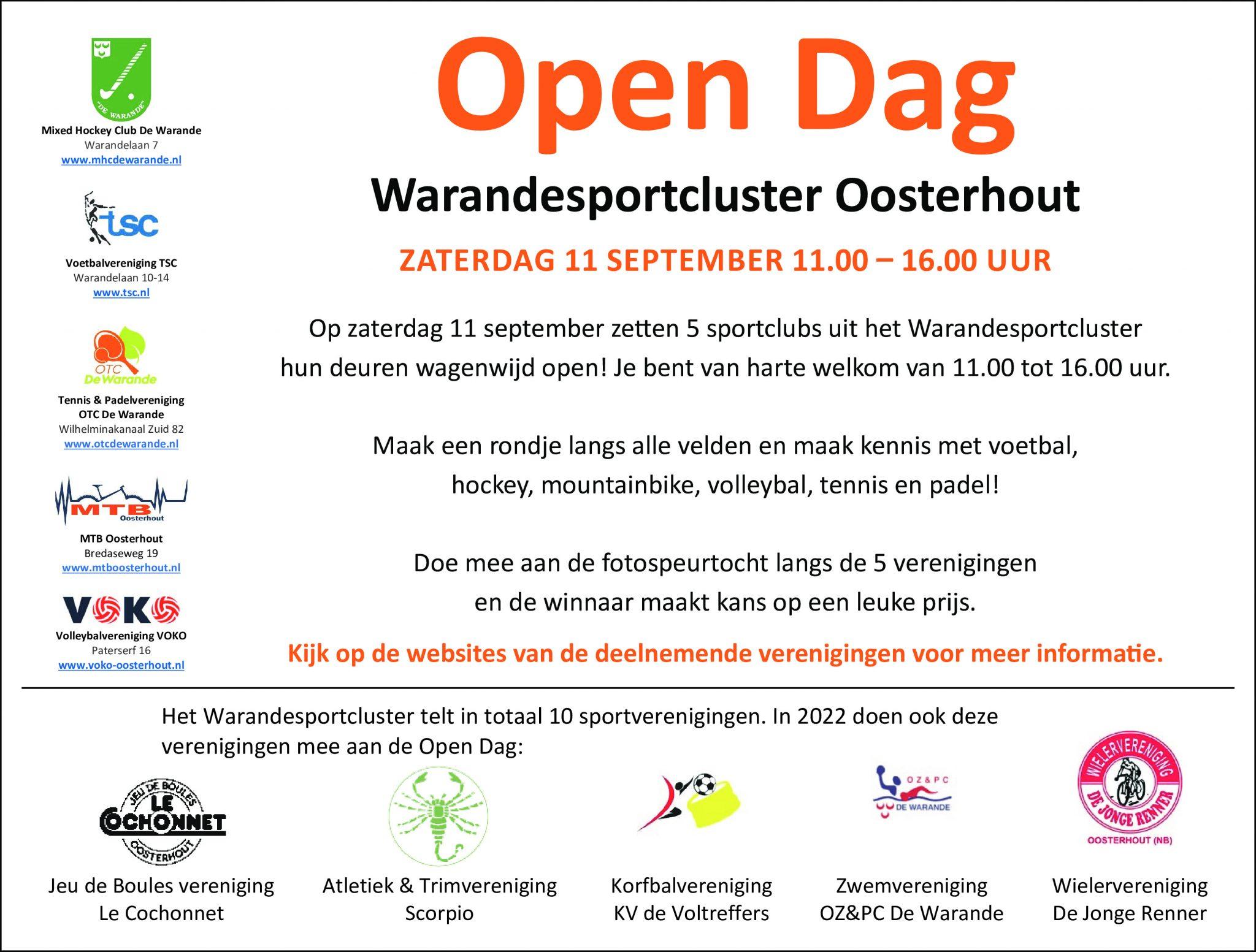 11/9 Open dag Warandesportcluster Oosterhout