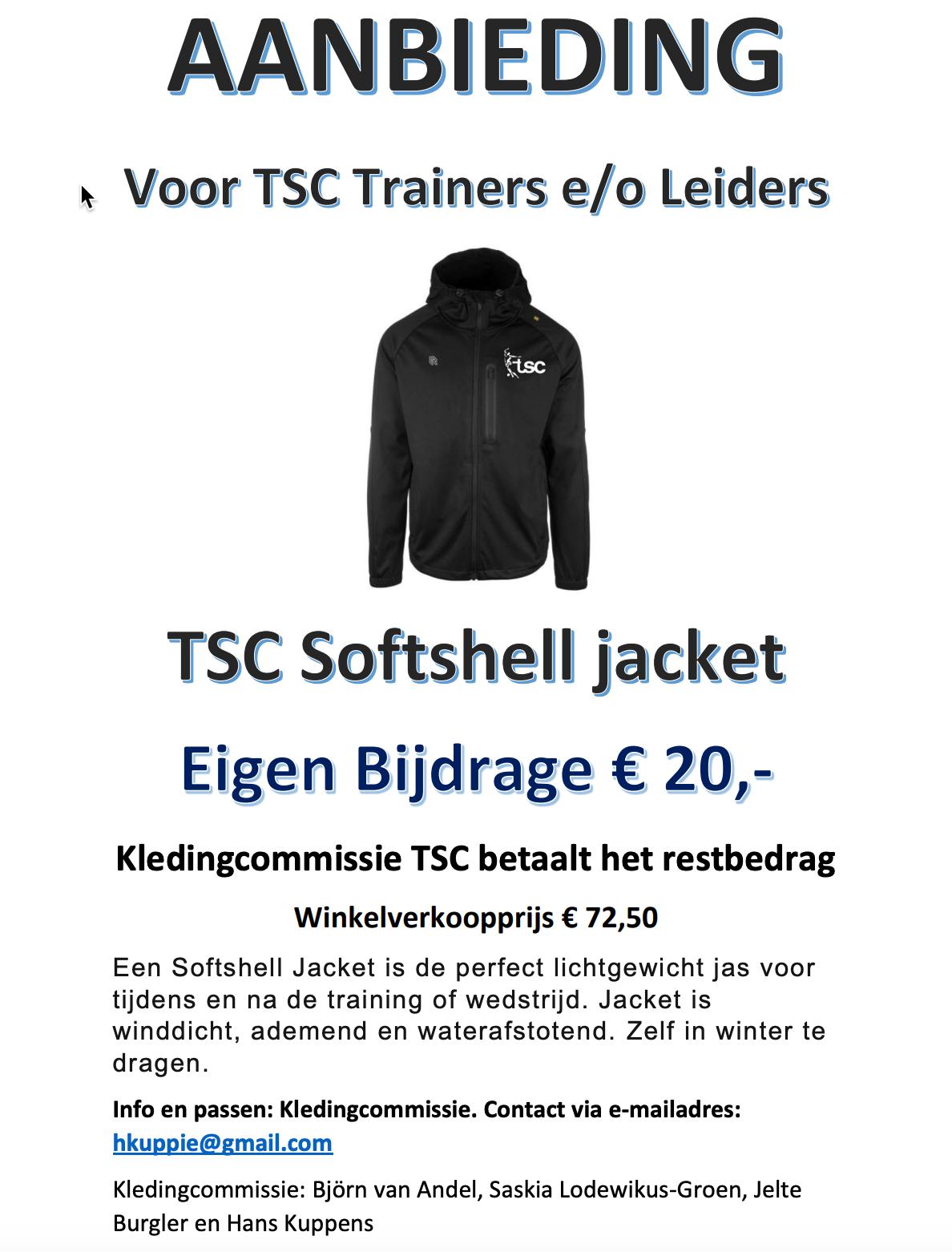 Aanbieding voor trainers en leiders: softshell jas!