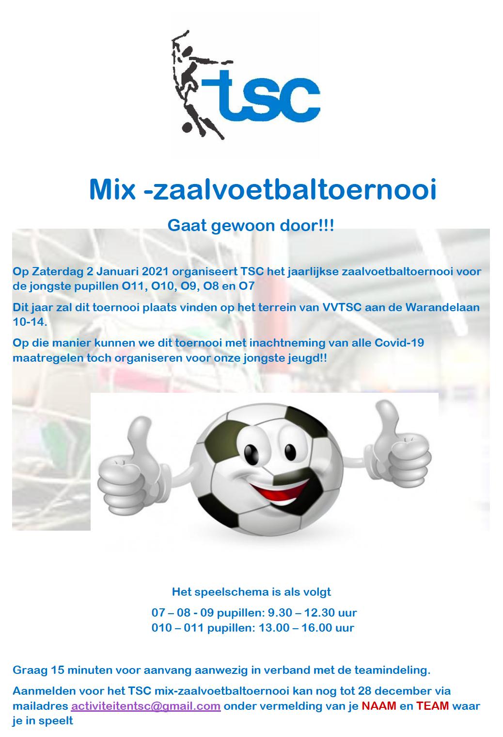 Mix-zaalvoetbal toernooi op 2 januari (aangepast!)
