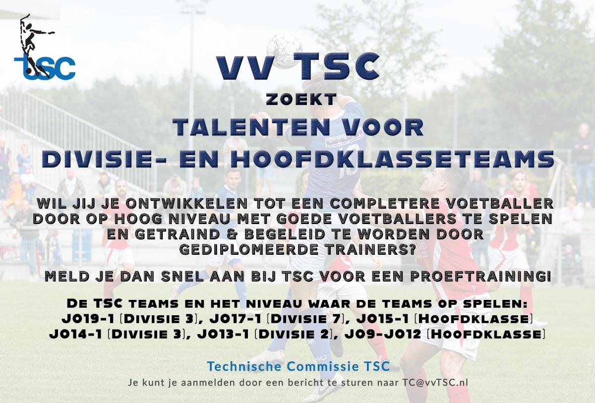 TSC is op zoek naar talentvolle jeugdvoetballers!